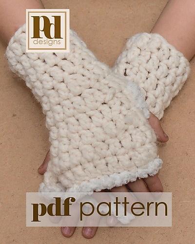 Free Crochet Pattern For Chunky Fingerless Gloves : Quick & Easy Chunky Fingerless Gloves pattern by Pamela ...