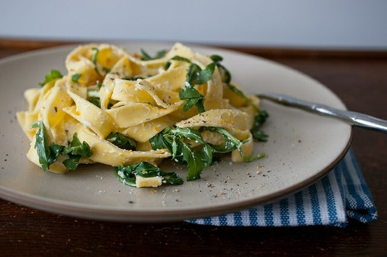 pasta with meyer lemon zest, ricotta, arugula, and bottarga. (from ...