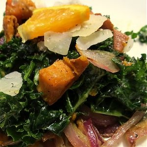 ... Gourmet – Massaged Kale with Sweet Potatoes and Orange Dressing