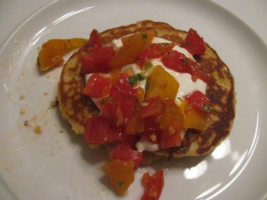 Sarah's Fresh Corn Pancakes with Salsa Cruda and Yogurt — Quick ...