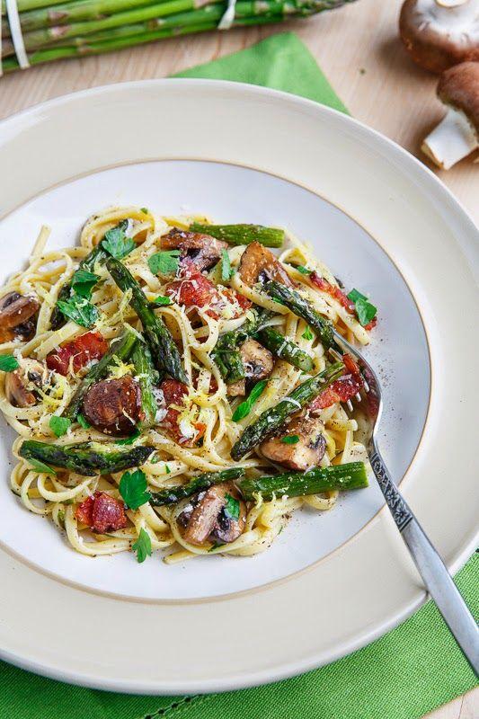 Roasted Asparagus and Mushroom Carbonara | Recipe