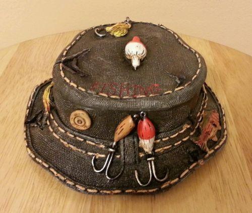 New fishing hat jewel box stash box ashtray collectible decor for Fishing hat pins