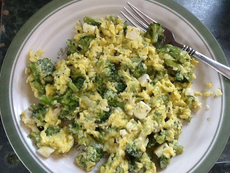 Scrambled eggs with broccoli and garlic & herb feta cheese, yum ...
