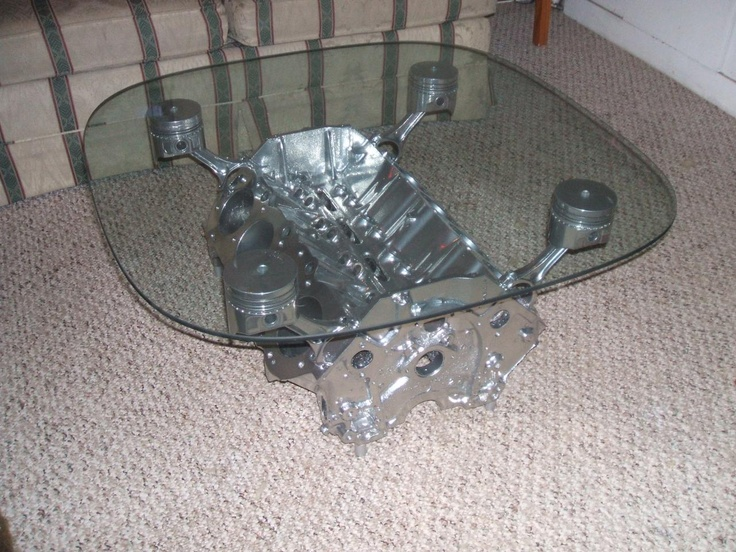 Pin by andy henderson on recycling crafts pinterest for Engine block coffee table