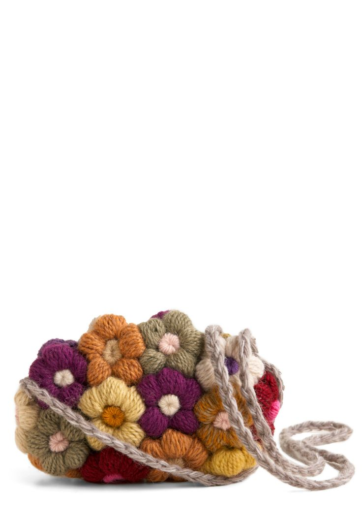 Crocheted Bouquet Bag - Green, Blue, Purple, Cream, Multi, Floral, Flower, Casual, 90s, Fall, Winter