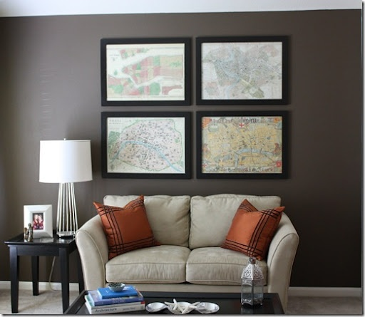 Framed maps of places you've been to.