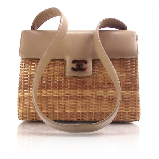 CHANEL Vintage Straw Bag wTortoise CC Lock