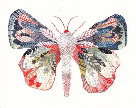 Exotic Moth - Large Archival Print. $40.00, via Etsy. from unitedthread. Lovely for a girl or boys' room.