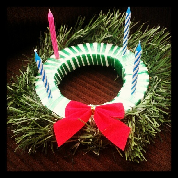 Mini advent wreath craft christmas stuff pinterest