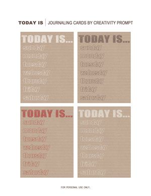 Freebie | today is... | journaling cards by creativity prompt.