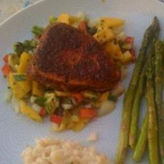 Blackened Tuna Steaks with Mango Salsa: I accidentally did tablespoons ...