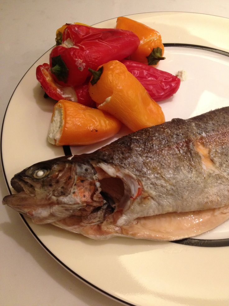 Whole grilled trout with stuffed peppers www.themodelmunch.blogspot ...
