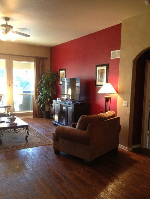 great colors with red accent wall home family room