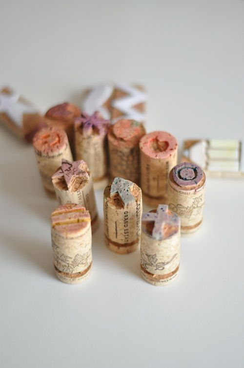 make stamps from cork stoppers