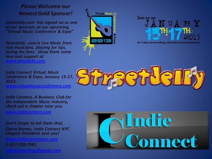 "Welcome our new Sponsor @streetjelly for our Indie Connect ""Virtual Music Conference"" Show them some love & support www.streetjelly.com www.virtualmusicconference.com Don't forget to tell them Diana, Indie Connect NYC Chapter Prez sent you!"