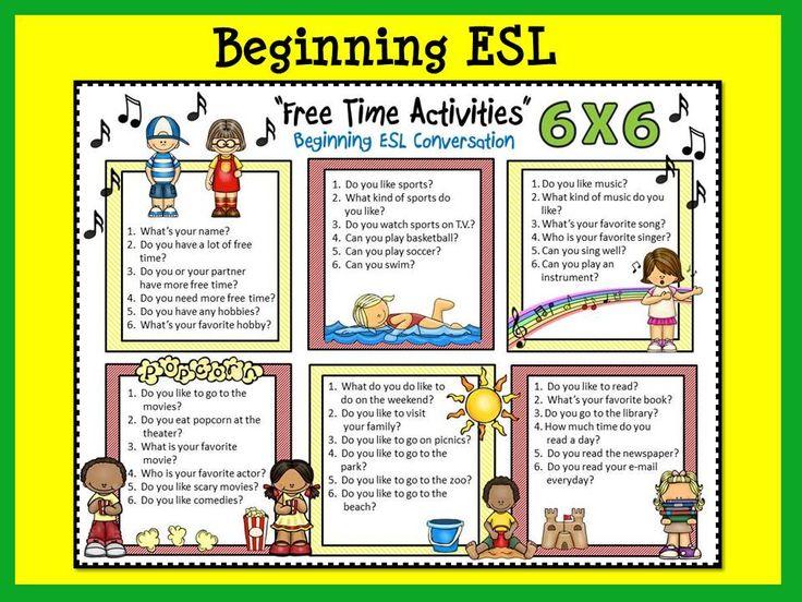 ESL Conversation Boards: u0026quot;Free Time Activitiesu0026quot; Beg. u0026 Int