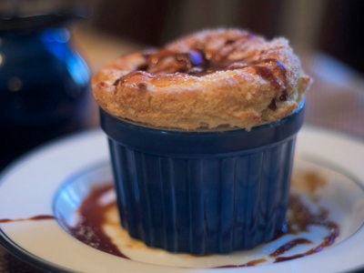 spiced pumpkin souffles with whiskey molasses sauce