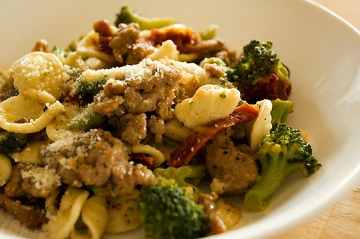 Pasta with Caramelized Broccoli, Garlic, and Sausage.