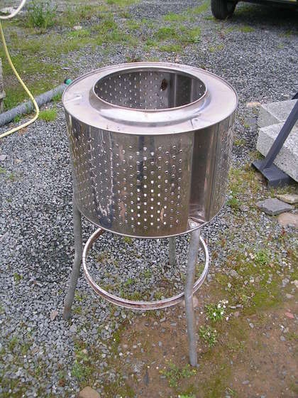 turn an old washing machine into a backyard fire pit. Black Bedroom Furniture Sets. Home Design Ideas