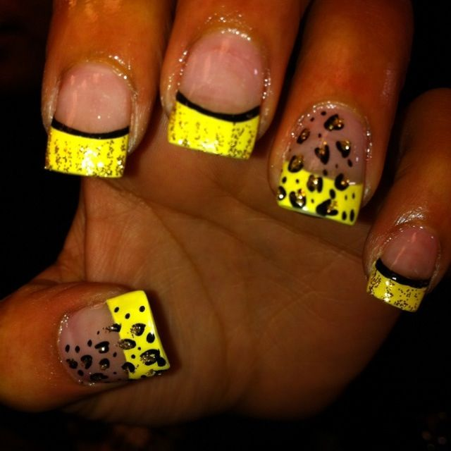 Yellow gel nails. | Gel nails | Pinterest