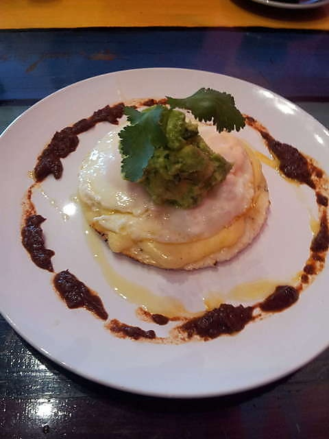 Huevos Rancheros - Fried eggs on a corn tortilla with salsa verde and ...
