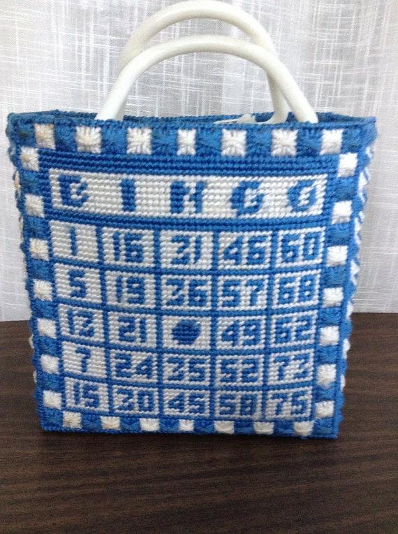 Crochet Pattern For Bingo Bag : Handmade Blue and White Bingo Bag