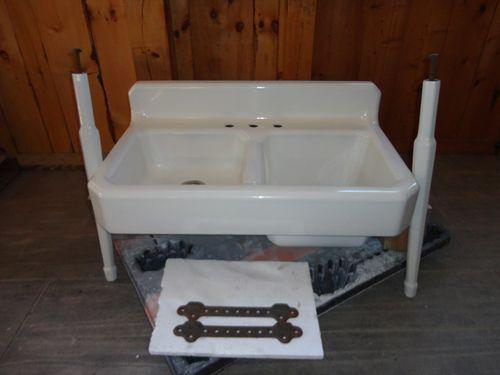 Farmhouse Sink With Legs : ... Iron Farm Farmhouse Vintage Apron Kitchen Sink Legs eBay. with legs