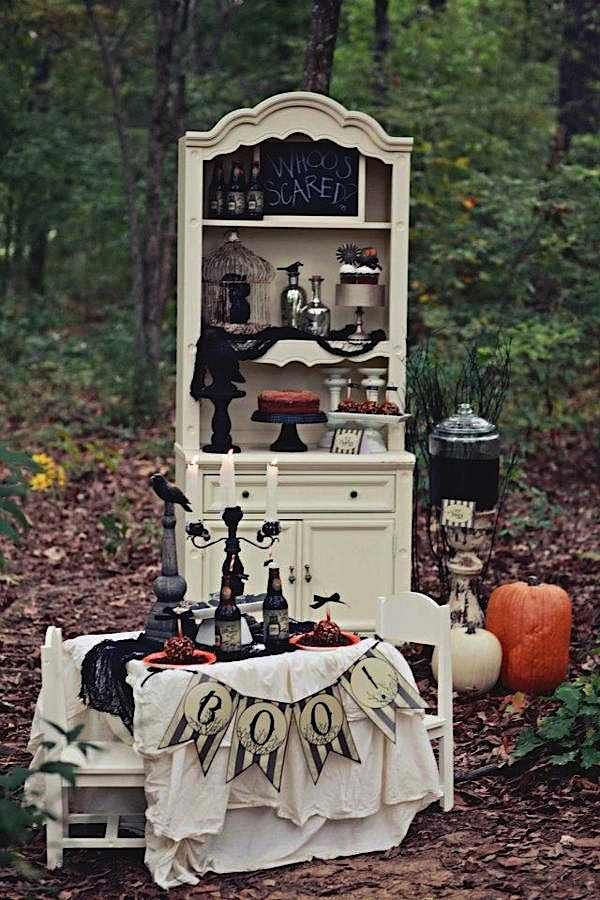 Halloween decor! Love it... burlap/orange damask and stencil 'BOO' for mantle