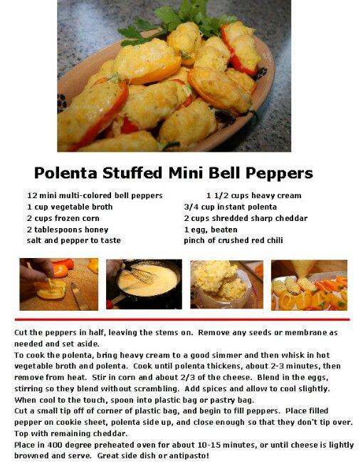 Polenta Stuffed Mini Bell Peppers ~ Delish! Recipe Claro's Italian ...