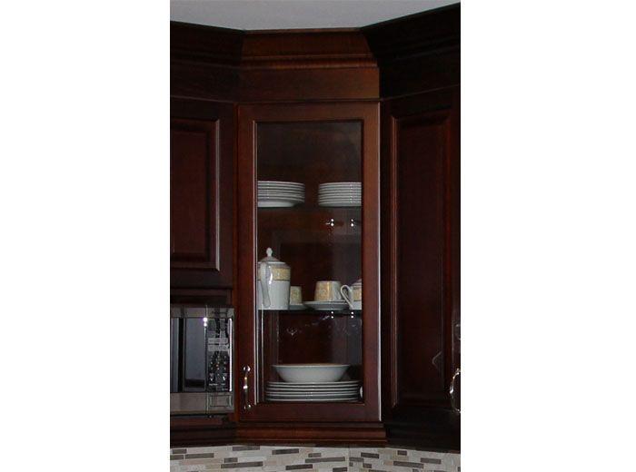 Corner cabinets with glass doors dark cherry coloured for Cherry kitchen cabinets with glass doors