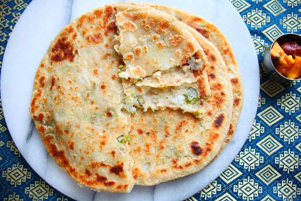 aloo paratha (potato stuffed indian bread with spices)