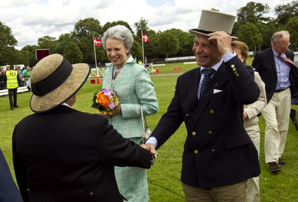 Sunday, July 15, 2012, Her Royal Highness Princess Benedikte of Denmark was in Horsens to attend the final day of theDansk Køre (it's horse and carriage driving competition). The princess, accompanied by Irene and HenrikAhlefeldt-Laurvi.