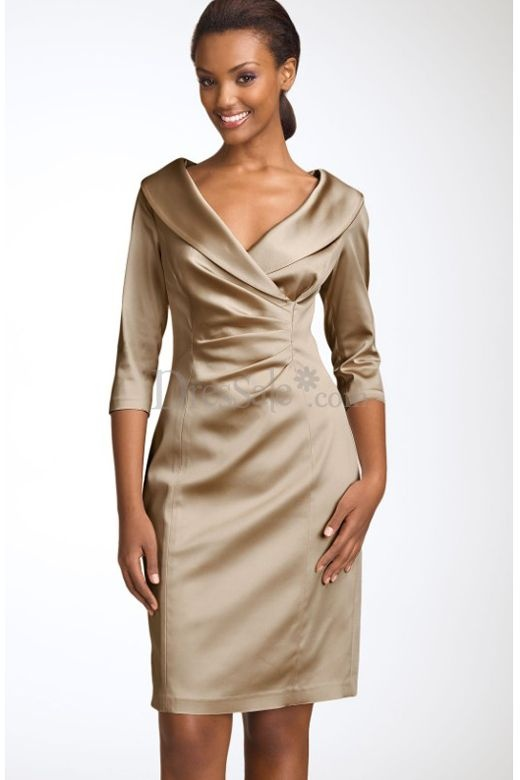Classic sheath satin mother of the bride dress with pleats for you