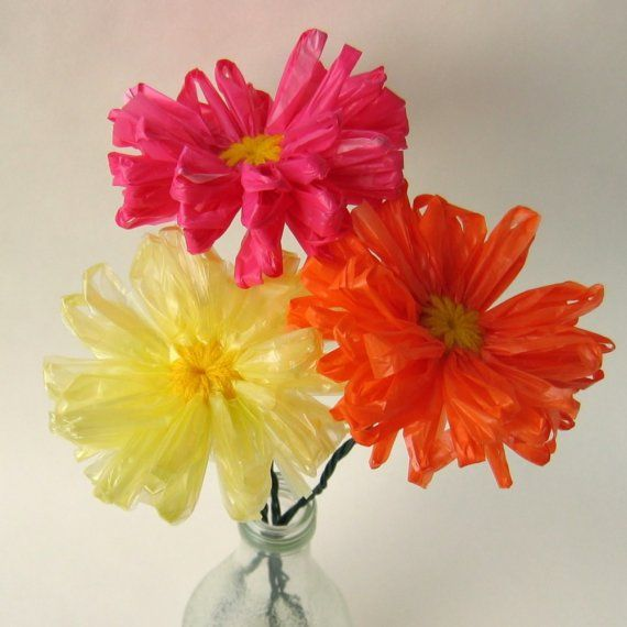 upcycled plastic bag flowers