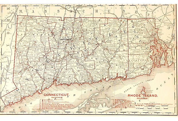 Map Of Connecticut Amp Rhode Island 1888