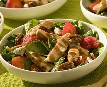 Strawberry Spinach Salad with Chicken- This salad is topped with ...
