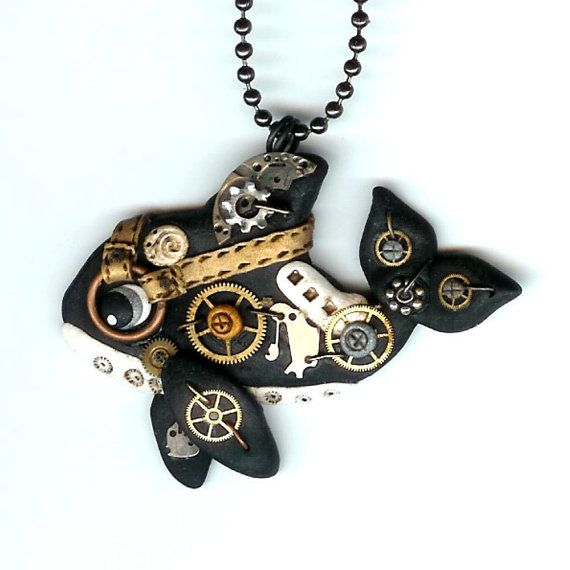 steunk orca whale necklace polymer clay jewelry