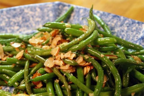 String beans with garlic and almonds, will make for the potluck at ...