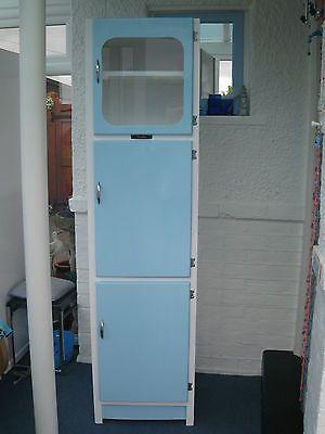 Vintage Retro 50s 60s Slimline Kitchen Larder Unit Blue White Res