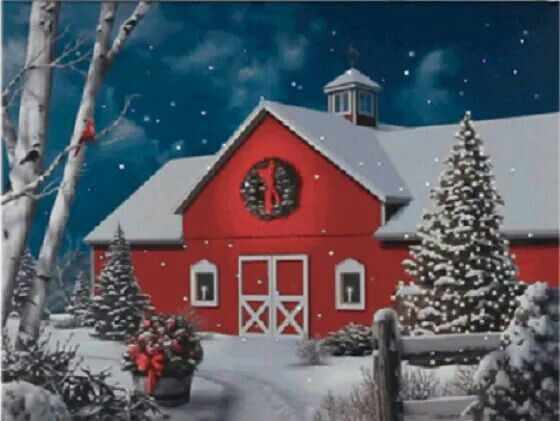 Barn in Winter scene   ~Romantic & picturesque ANY THING~   Pinterest Snow