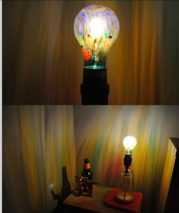 Use a Sharpie to draw on a light bulb for a neat effect when you light the bulb. via.