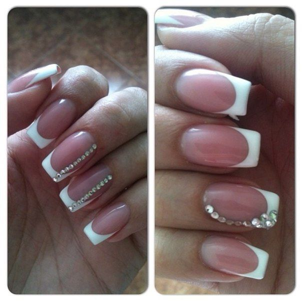 Classic french manicure with stones | elegant nails | Pinterest