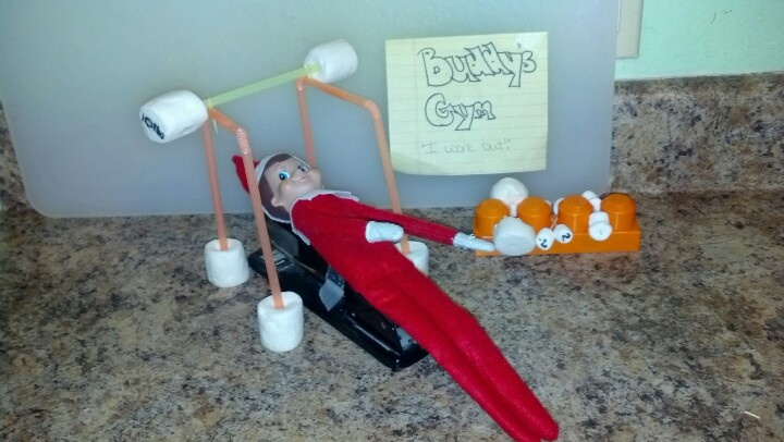 Buddy working out | Elf on a shelf | Pinterest