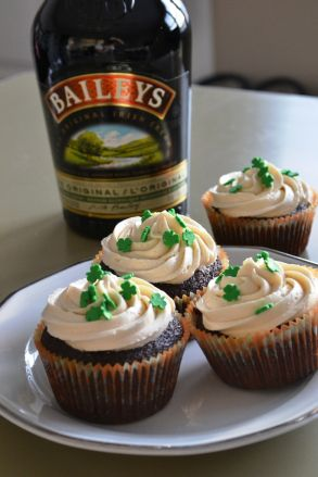 Chocolate Guinness cupcakes with whiskey ganache and Baileys frosting.