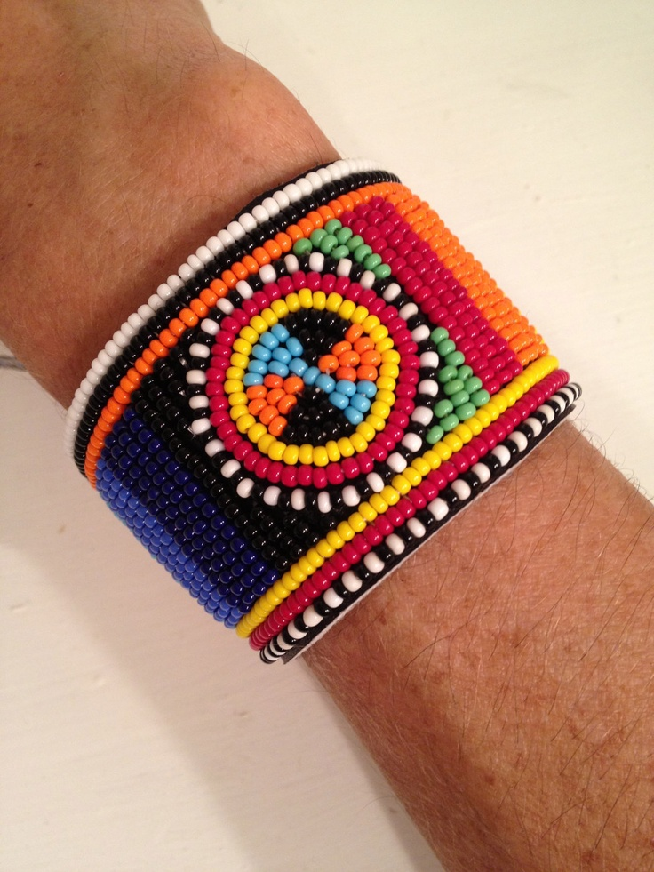 beaded leather maasai bracelet