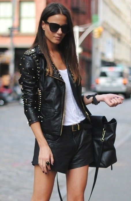 Black Leather Jacket and Short