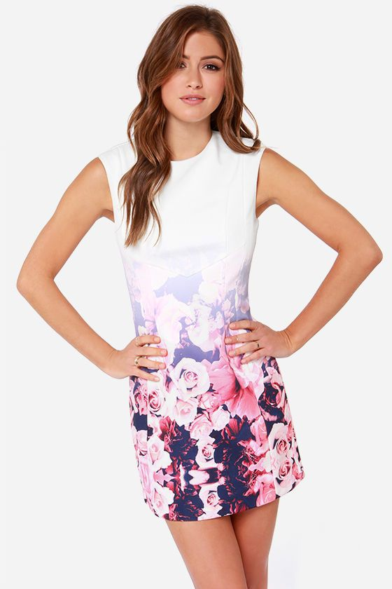 White  Ivory Floral Print Dress