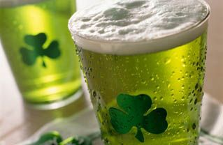 Green beer in a LOVELY glass for St. Patrick's day!