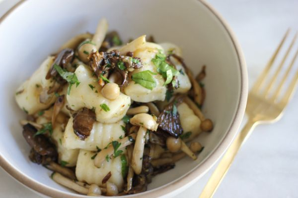 Wild mushroom brown butter gnocchi with truffle oil