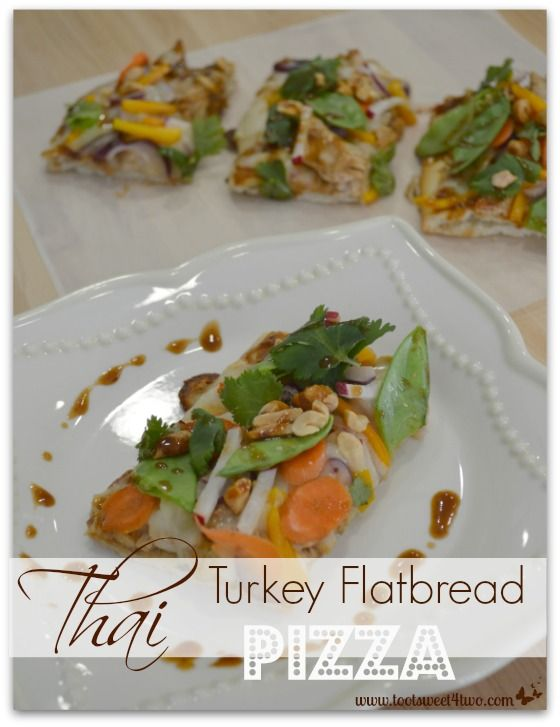Thai Turkey Flatbread Pizza slices plated